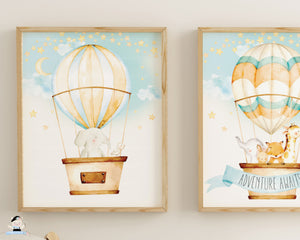 whimsical baby animals hot air balloon watercolour nursery kids room decor wall art instant download