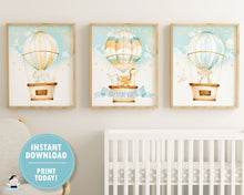 Load image into Gallery viewer, whimsical hot air balloon baby animals nursery wall art instant download files
