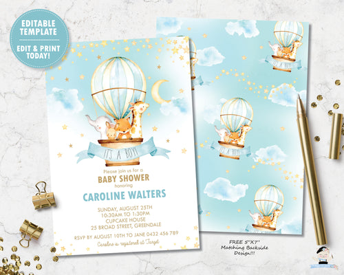 Whimsical cute baby animals in a turquoise hot air balloon baby shower invitation editable template for baby boy