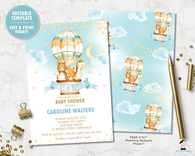 watercolor adorable baby jungle animals riding in a hot air balloon baby boy shower invitation editable template