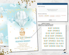 Load image into Gallery viewer, whimsical little bear in a hot air balloon baby boy shower invitation digital editable template