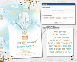whimsical little bear in a hot air balloon baby boy shower invitation digital editable template