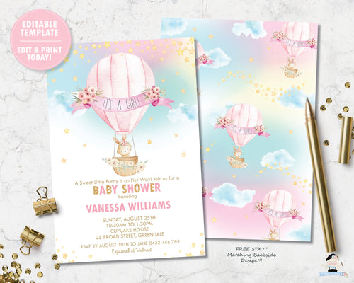 little bunny riding in a floral adorned hot air balloon with a pretty rainbow sky baby girl shower invitation editable template