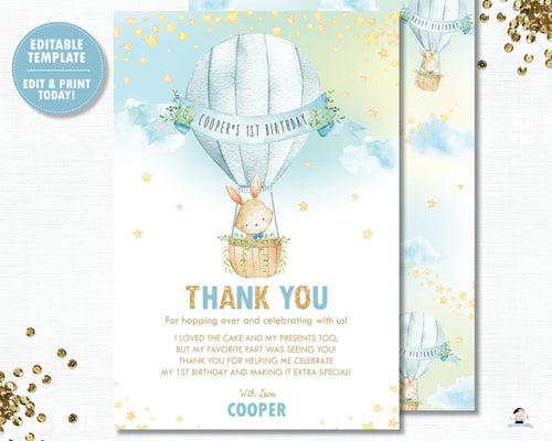 Cute Bunny Hot Air Balloon Blue Thank You Card Editable Template Instant Download HB6