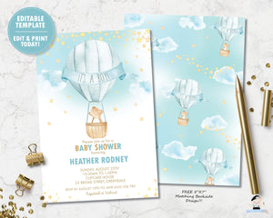 whimsical teddy bear hot air balloon baby boy shower personalized invitation digital printable editable template