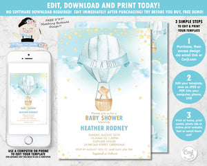 whimsical hot air balloon baby boy shower invitation digital editable template instant download file