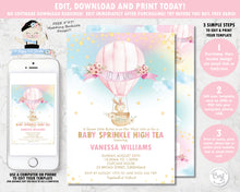 Load image into Gallery viewer, whimsical baby bunny in a floral adorned hot air balloon and rainbow sky baby shower girl invitation editable template printable file