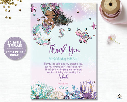 Whimsical Brown Skin African American Mermaid Birthday Party Thank You Card - Instant EDITABLE TEMPLATE Digital Printable File- MT2