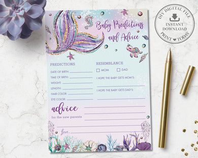 Mermaid Baby Predictions and Advice Card Baby Shower Activity - Instant Download - Digital Printable File - MT2