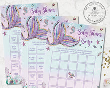 Load image into Gallery viewer, Whimsical Mermaid Pre-Filled Bingo Game Baby Shower Activity - Instant Download - Digital Printable File - MT2