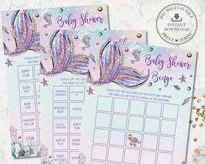 Whimsical Mermaid Pre-Filled Bingo Game Baby Shower Activity - Instant Download - Digital Printable File - MT2