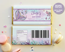 Load image into Gallery viewer, Mermaid Tail Under the Sea Chocolate Bar Wrapper for Aldi and Hershey's Chocolate Bars - EDITABLE TEMPLATE - Digital Printable File - Instant Download - MT2