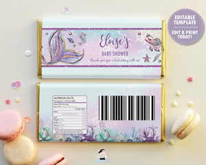 Mermaid Tail Under the Sea Chocolate Bar Wrapper for Aldi and Hershey's Chocolate Bars - EDITABLE TEMPLATE - Digital Printable File - Instant Download - MT2