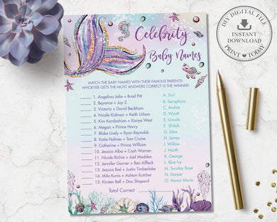 Whimsical Mermaid Celebrity Baby Names Game Baby Shower Activity - Instant Download - Digital Printable File - MT2