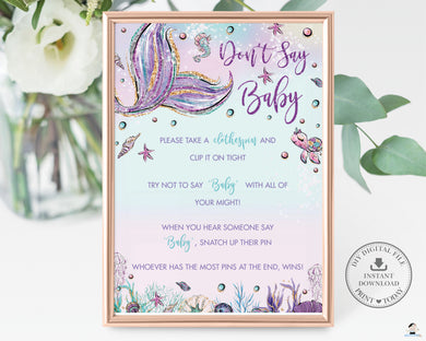 Mermaid Don't Say Baby Sign Baby Shower Activity - Instant Download - Digital Printable File - MT2