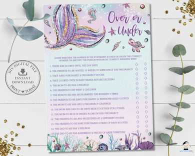 Mermaid Over or Under Quiz Baby Shower Game Activity - Instant Download - Digital Printable File - MT2