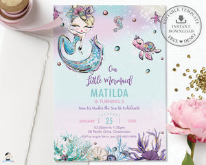 Whimsical Blonde Mermaid Birthday Invitation - Instant EDITABLE TEMPLATE Digital Printable File - MT2