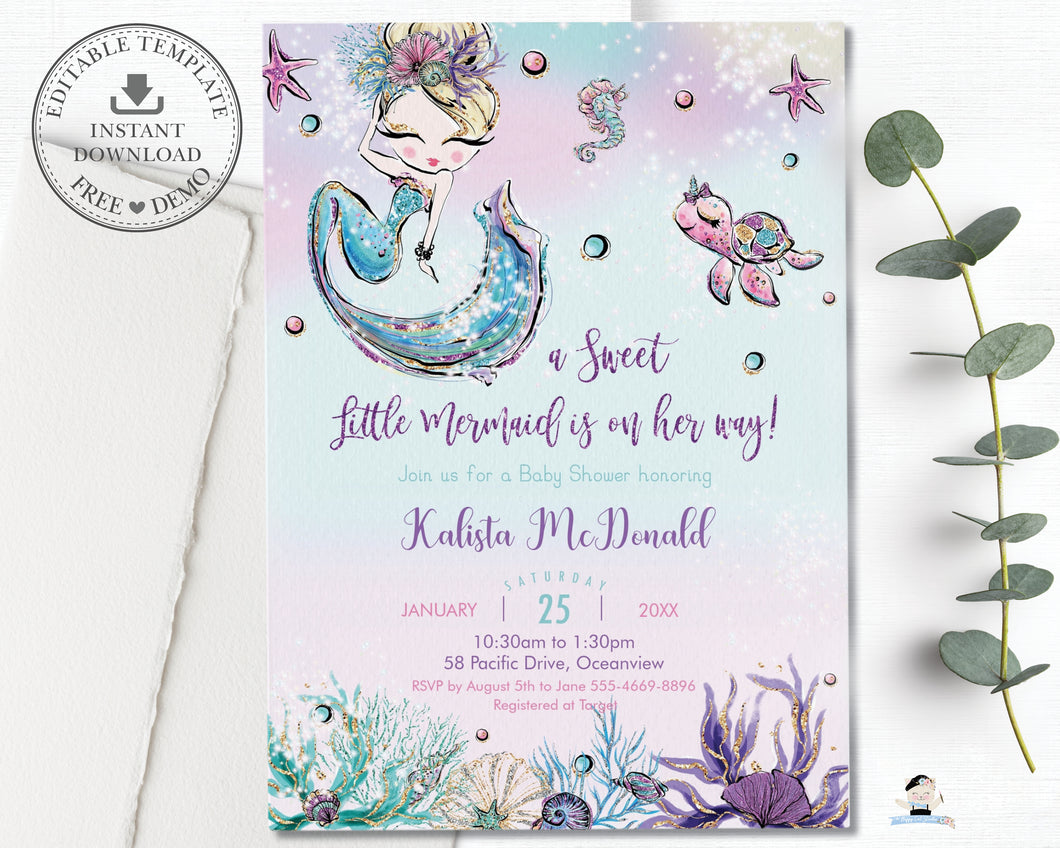 Whimsical Blonde Mermaid Baby Girl Shower Invitation - Instant EDITABLE TEMPLATE Digital Printable File- MT2