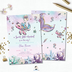 Whimsical Blonde Mermaid Baby Shower Invitation - Instant EDITABLE TEMPLATE Digital Printable File- MT2