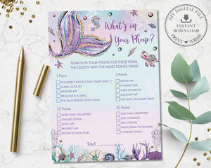 Fun Mermaid What's In Your Phone Game Baby Shower Activity - Instant Download - Digital Printable File - MT2
