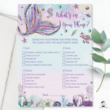 Load image into Gallery viewer, Fun Mermaid What's In Your Phone Game Baby Shower Activity - Instant Download - Digital Printable File - MT2