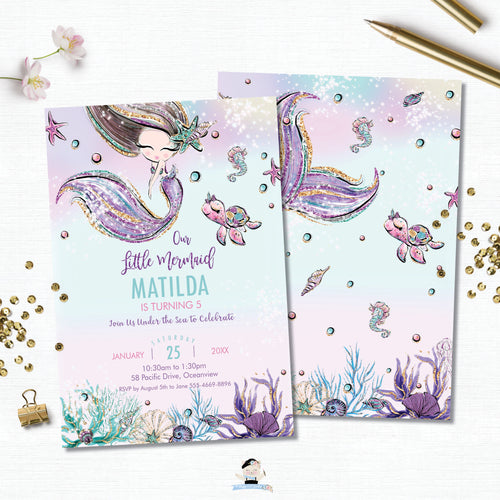 Whimsical Mermaid Birthday Party Invitation - Instant EDITABLE TEMPLATE Digital Printable File- MT2