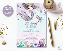 Load image into Gallery viewer, Whimsical Mermaid Birthday Party Invitation - Instant EDITABLE TEMPLATE Digital Printable File- MT2