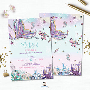 Whimsical Mermaid Tail Birthday Party Invitation - Instant EDITABLE TEMPLATE Digital Printable File- MT2
