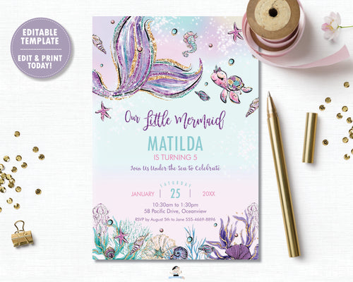 Whimsical Under the Sea Mermaid Tail Birthday Party Invitation - Instant EDITABLE TEMPLATE Digital Printable File- MT2