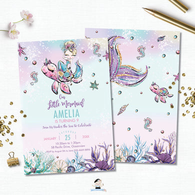 Whimsical Blonde Mermaid Birthday Party Invitation - Instant EDITABLE TEMPLATE Digital Printable File- MT2
