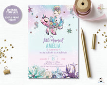 Load image into Gallery viewer, Whimsical Blonde Mermaid Birthday Party Invitation - Instant EDITABLE TEMPLATE Digital Printable File- MT2