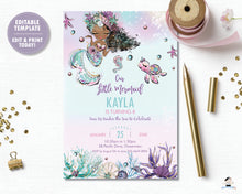 Load image into Gallery viewer, Whimsical Brown Skin African American Mermaid Birthday Party Invitation - Instant EDITABLE TEMPLATE Digital Printable File- MT2