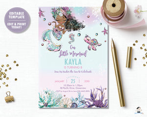 Whimsical Brown Skin African American Mermaid Birthday Party Invitation - Instant EDITABLE TEMPLATE Digital Printable File- MT2
