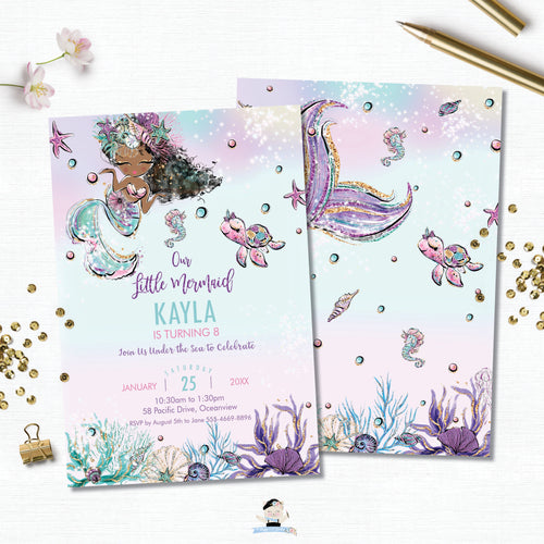 Whimsical Dark Skin Mermaid Birthday Party Invitation - Instant EDITABLE TEMPLATE Digital Printable File- MT2