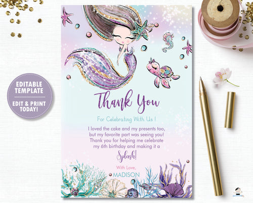 Whimsical Mermaid Birthday Party Thank You Card - Instant EDITABLE TEMPLATE Digital Printable File- MT2
