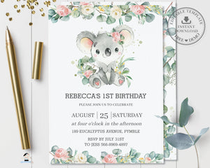 Cute Koala Pink Floral Greenery Birthday Invitation Editable Template - Instant Dowload - Digital Printable File - AU2