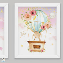 "Load image into Gallery viewer, Set of 3 Whimsical Pink Floral Girl Hot Air Balloon Baby Animals Nursery Wall Art - 16""x20"" - INSTANT DOWNLOAD - HB5"
