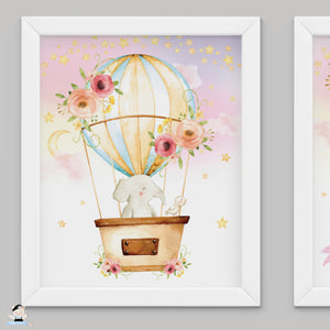 "Set of 3 Whimsical Pink Floral Girl Hot Air Balloon Baby Animals Nursery Wall Art - 16""x20"" - INSTANT DOWNLOAD - HB5"
