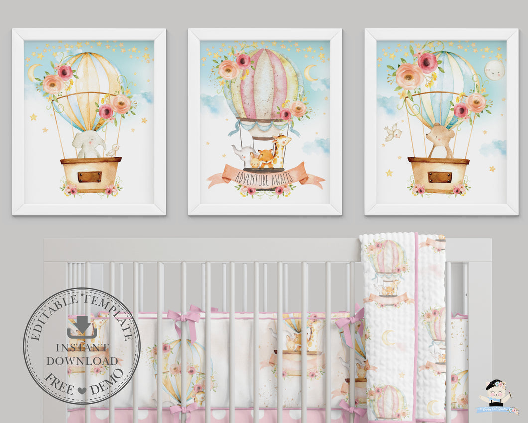 Set of 3 Whimsical Pink Floral Hot Air Balloon Baby Animals Nursery Wall Art - 16