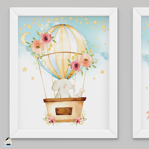 "Set of 3 Whimsical Pink Floral Hot Air Balloon Baby Animals Nursery Wall Art - 16""x20"" - INSTANT DOWNLOAD - HB5"