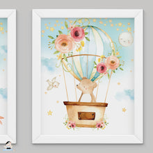 "Load image into Gallery viewer, Set of 3 Whimsical Pink Floral Hot Air Balloon Baby Animals Nursery Wall Art - 16""x20"" - INSTANT DOWNLOAD - HB5"