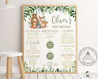Rustic Greenery Woodland Animals 1st Birthday Milestone Sign Birth Stats Editable Template - Digital Printable File - Instant Download - WG7
