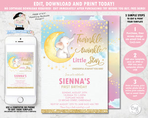 whimsical rainbow twinkle twinkle little star elephant first birthday girl invitation editable template digital printable file