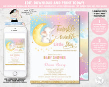 Load image into Gallery viewer, whimsical rainbow twinkle twinkle little star elephant baby shower girl invitation editable template printable file