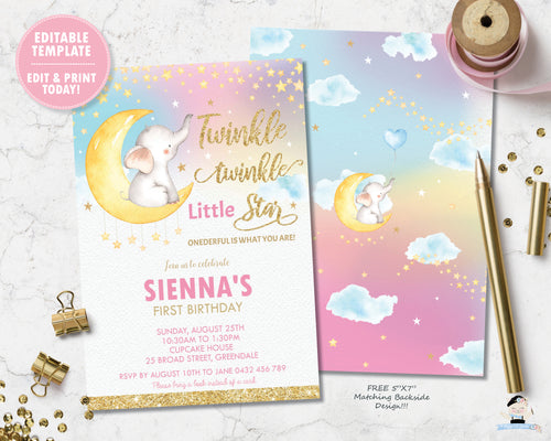 whimsical baby elephant twinkle little star girl 1st birthday invitation editable template digital printable file