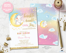 Load image into Gallery viewer, whimsical rainbow twinkle twinkle little star elephant sitting on crescent moon baby shower invitation editable template