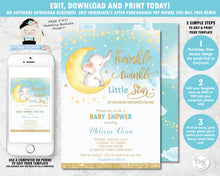 Load image into Gallery viewer, Editable template twinkle little star elephant baby boy shower personalised invitation