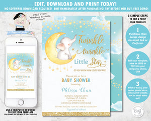 Editable template twinkle little star elephant baby boy shower personalised invitation