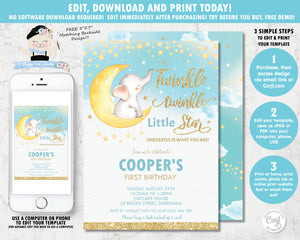 twinkle twinkle little star whimsical 1st birthday boy editable template invitation digital printable file