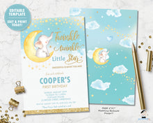 Load image into Gallery viewer, twinkle twinkle little star elephant on a crescent moon 1st birthday boy invitation editable template digital printable file
